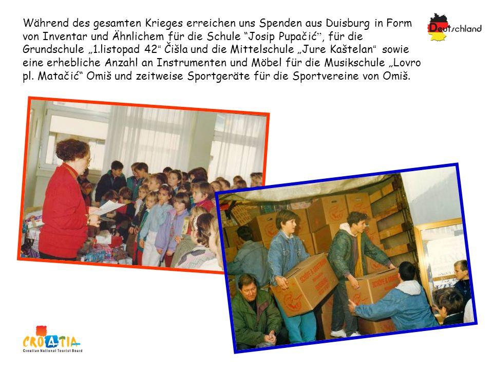 Während des gesamten Krieges erreichen uns Spenden aus Duisburg in Form von Inventar und Ähnlichem für die Schule Josip Pupačić, für die Grundschule 1