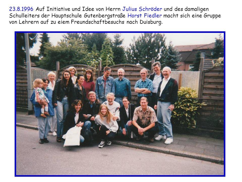 23.8.1996 Auf Initiative und Idee von Herrn Julius Schröder und des damaligen Schulleiters der Hauptschule Gutenbergstraße Horst Fiedler macht sich ei