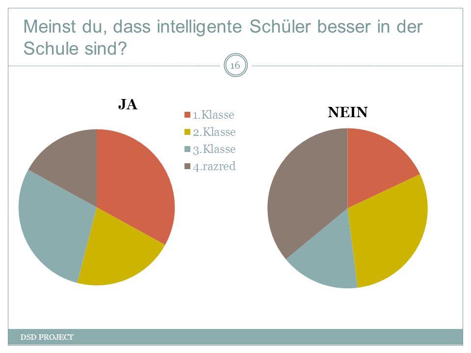 Meinst du, dass intelligente Schüler besser in der Schule sind? DSD PROJECT 16