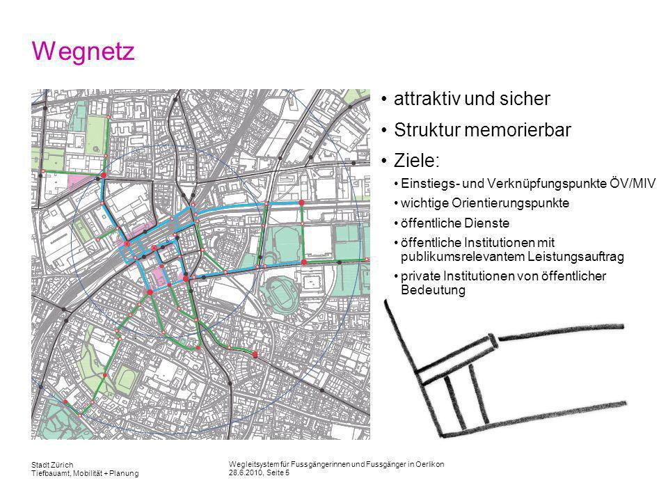 Wegleitsystem für Fussgängerinnen und Fussgänger in Oerlikon 28.6.2010, Seite 5 Stadt Zürich Tiefbauamt, Mobilität + Planung Wegnetz attraktiv und sic