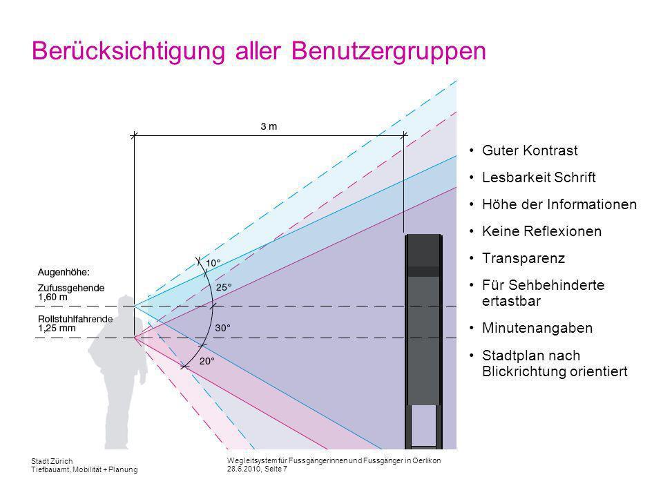 Wegleitsystem für Fussgängerinnen und Fussgänger in Oerlikon 28.6.2010, Seite 7 Stadt Zürich Tiefbauamt, Mobilität + Planung Berücksichtigung aller Be