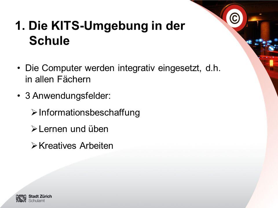 Die Computer werden integrativ eingesetzt, d.h. in allen Fächern 3 Anwendungsfelder: Informationsbeschaffung Lernen und üben Kreatives Arbeiten 1. Die