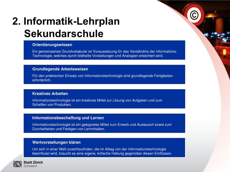 2. Informatik-Lehrplan Sekundarschule
