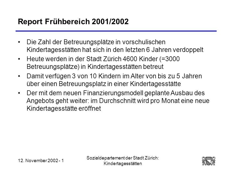 12. November 2002 - 1 Sozialdepartement der Stadt Zürich: Kindertagesstätten Report Frühbereich 2001/2002 Die Zahl der Betreuungsplätze in vorschulisc