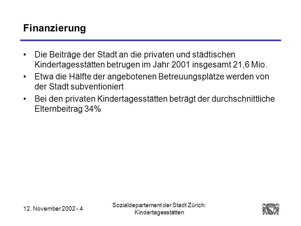 12. November 2002 - 4 Sozialdepartement der Stadt Zürich: Kindertagesstätten Finanzierung Die Beiträge der Stadt an die privaten und städtischen Kinde