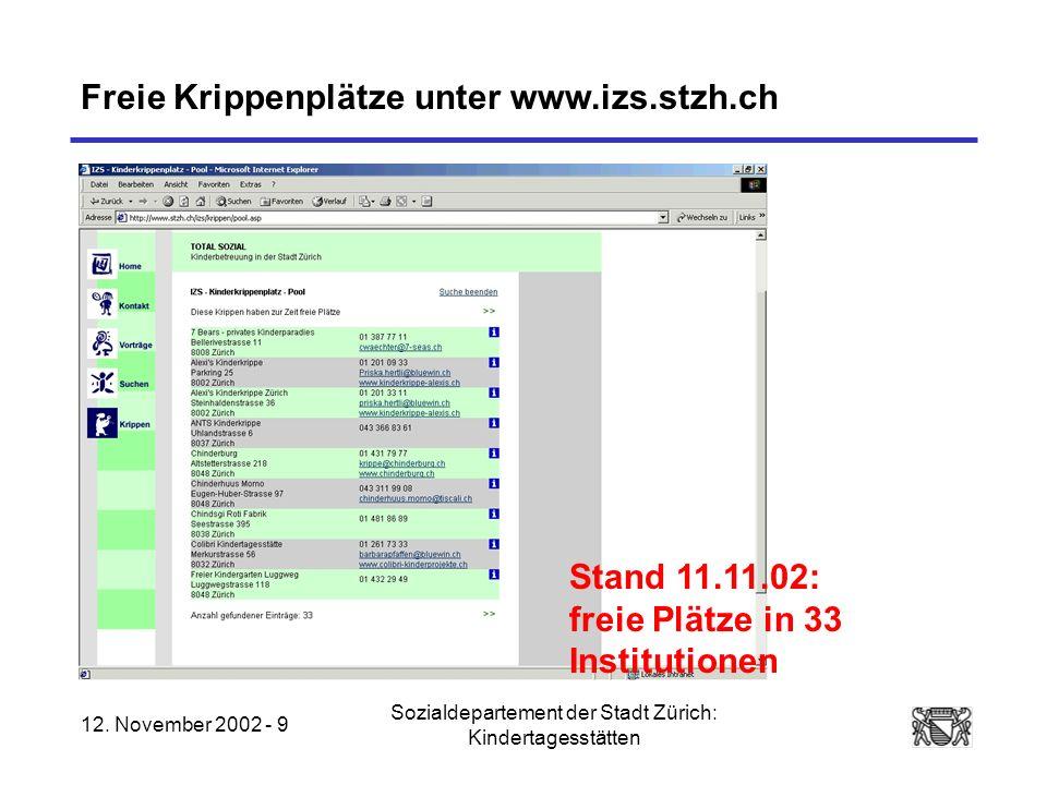 12. November 2002 - 9 Sozialdepartement der Stadt Zürich: Kindertagesstätten Freie Krippenplätze unter www.izs.stzh.ch Stand 11.11.02: freie Plätze in