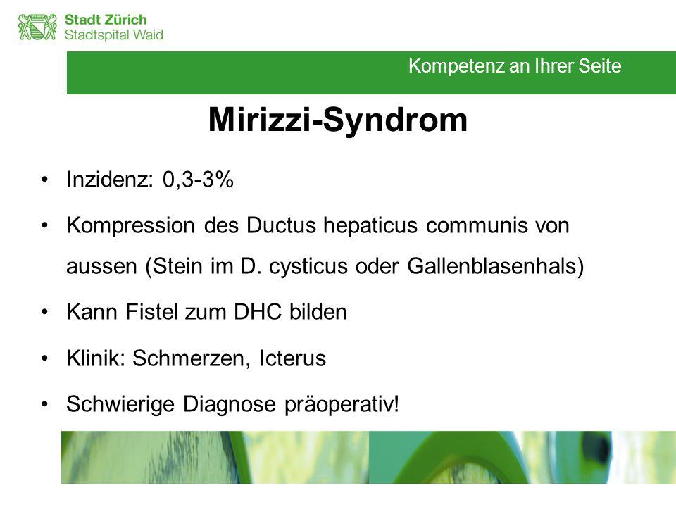 Kompetenz an Ihrer Seite Mirizzi-Syndrom Inzidenz: 0,3-3% Kompression des Ductus hepaticus communis von aussen (Stein im D. cysticus oder Gallenblasen
