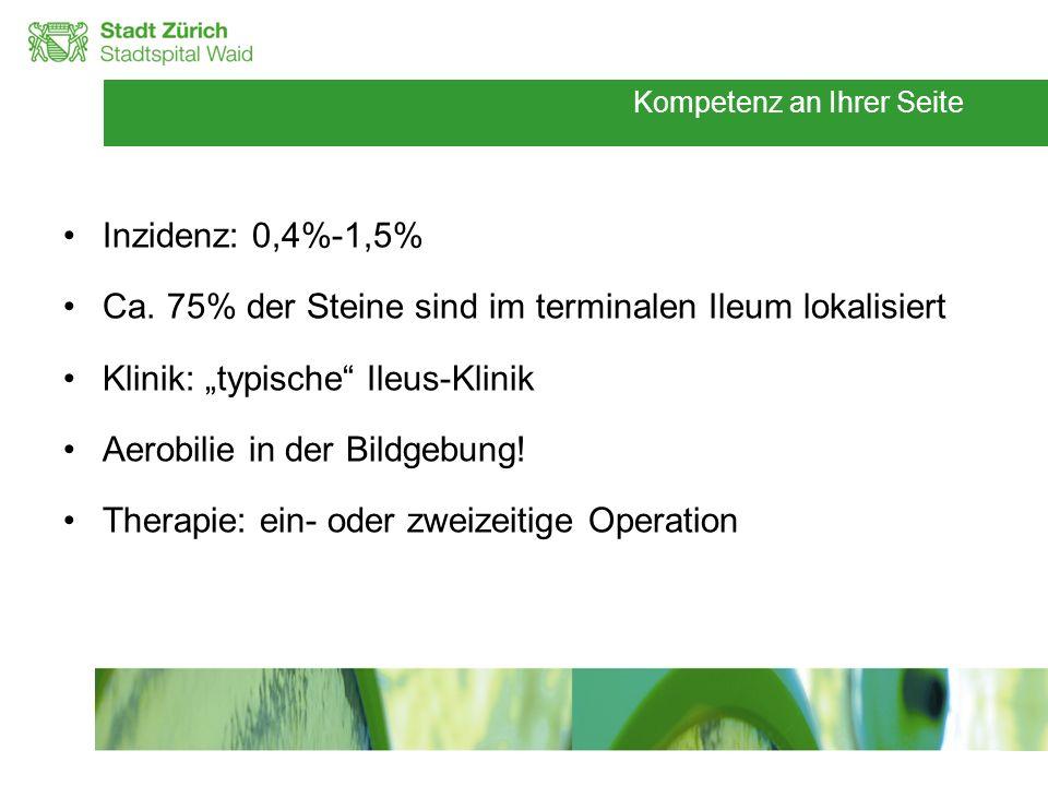 Kompetenz an Ihrer Seite Inzidenz: 0,4%-1,5% Ca. 75% der Steine sind im terminalen Ileum lokalisiert Klinik: typische Ileus-Klinik Aerobilie in der Bi