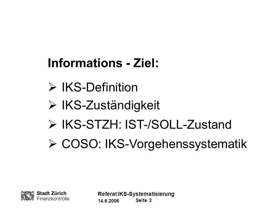 Seite 3 Referat IKS-Systematisierung 14.6.2006 Definition Internes Kontrollsystem (IKS)* Das IKS ist ein Managementinstrument zur zweckmässigen Sicherstellung der Erreichung von Unternehmenszielen in den BereichenProzesse, Informationen, Vermögensschutz und Compliance.