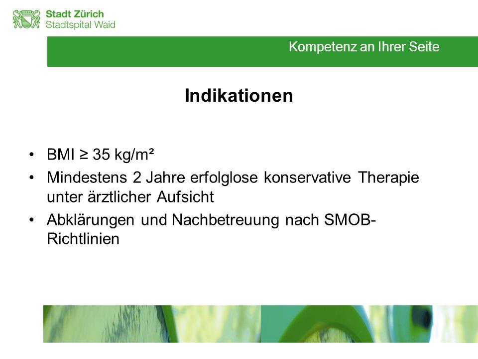 Kompetenz an Ihrer Seite Indikationen BMI 35 kg/m² Mindestens 2 Jahre erfolglose konservative Therapie unter ärztlicher Aufsicht Abklärungen und Nachb