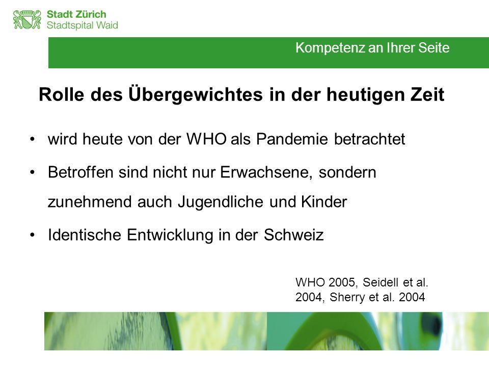 Rolle des Übergewichtes in der heutigen Zeit wird heute von der WHO als Pandemie betrachtet Betroffen sind nicht nur Erwachsene, sondern zunehmend auc