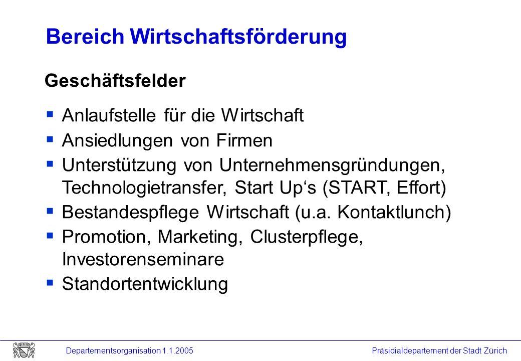 Präsidialdepartement der Stadt Zürich Departementsorganisation 1.1.2005 Bereich Wirtschaftsförderung Geschäftsfelder Anlaufstelle für die Wirtschaft A
