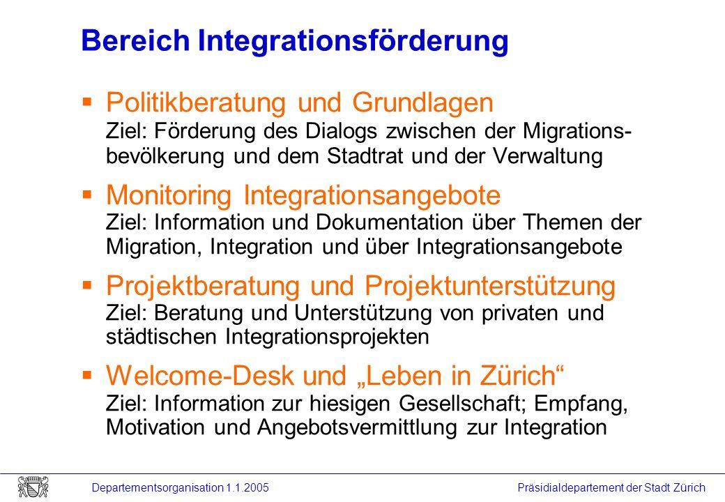 Präsidialdepartement der Stadt Zürich Departementsorganisation 1.1.2005 Bereich Integrationsförderung Politikberatung und Grundlagen Ziel: Förderung d