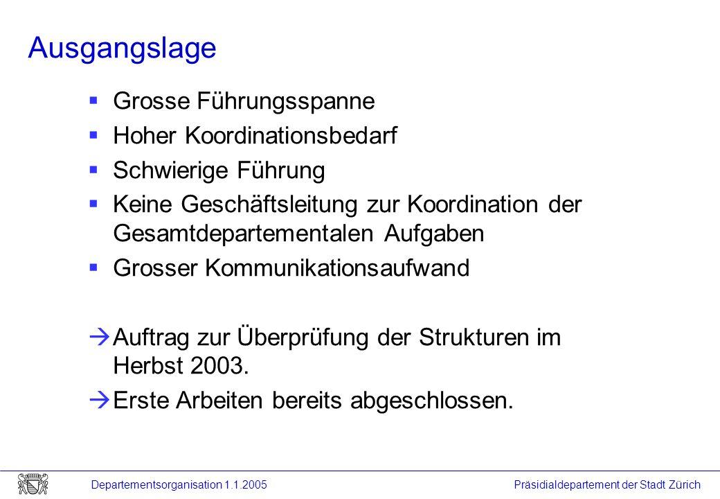 Präsidialdepartement der Stadt Zürich Departementsorganisation 1.1.2005 Ausgangslage Grosse Führungsspanne Hoher Koordinationsbedarf Schwierige Führun