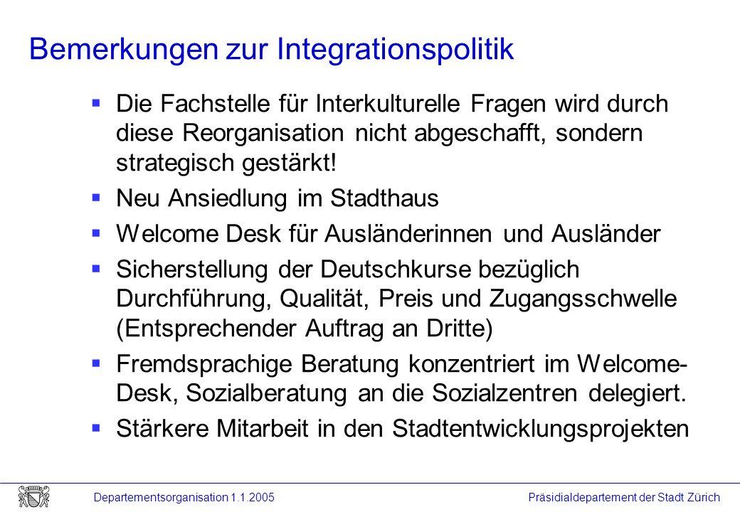 Präsidialdepartement der Stadt Zürich Departementsorganisation 1.1.2005 Bemerkungen zur Integrationspolitik Die Fachstelle für Interkulturelle Fragen