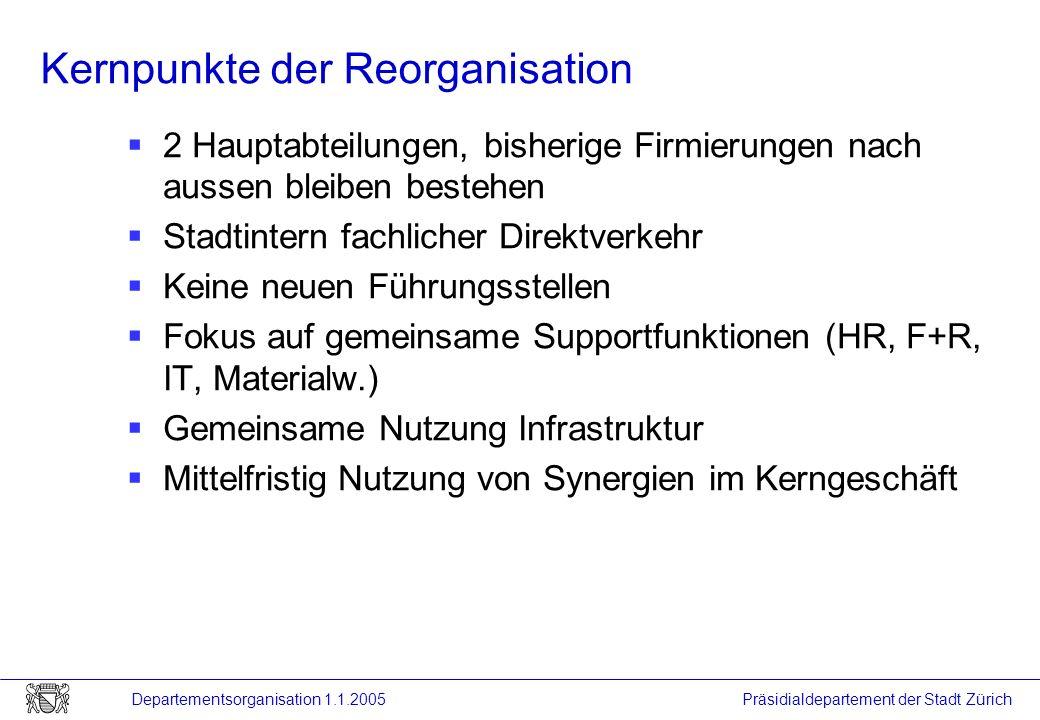 Präsidialdepartement der Stadt Zürich Departementsorganisation 1.1.2005 Kernpunkte der Reorganisation 2 Hauptabteilungen, bisherige Firmierungen nach
