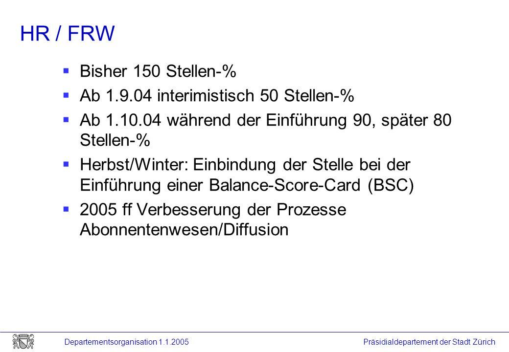 Präsidialdepartement der Stadt Zürich Departementsorganisation 1.1.2005 HR / FRW Bisher 150 Stellen-% Ab 1.9.04 interimistisch 50 Stellen-% Ab 1.10.04