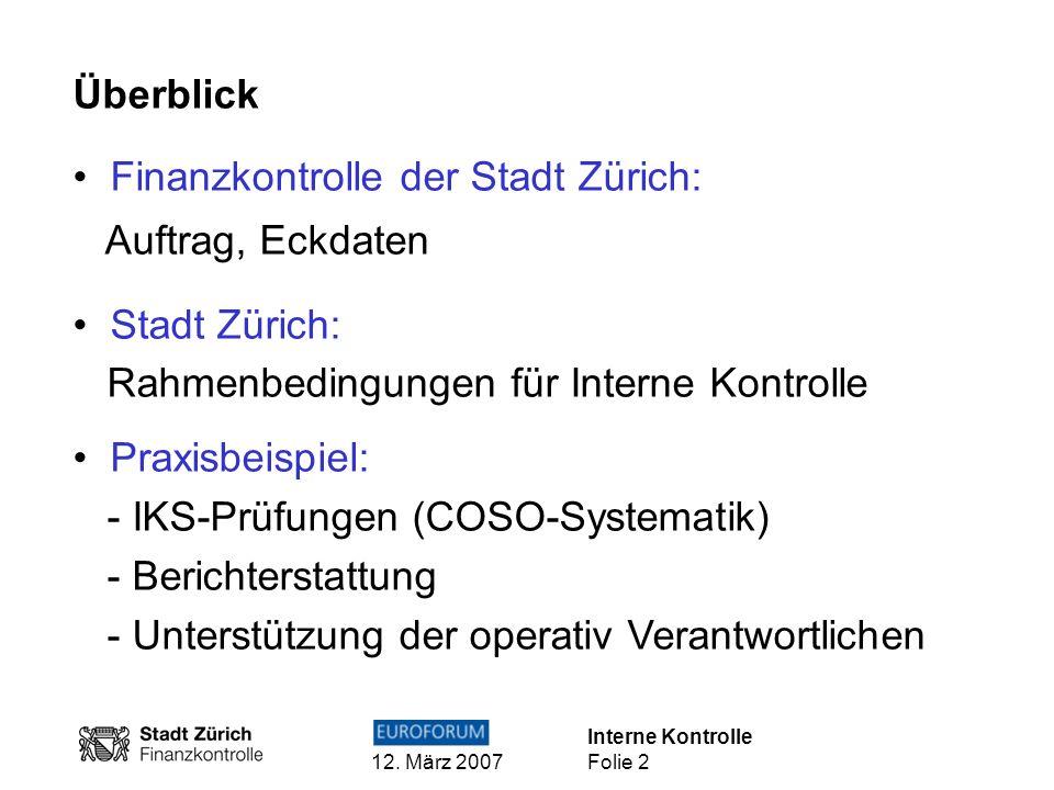 Interne Kontrolle 12. März 2007 Folie 2 Überblick Finanzkontrolle der Stadt Zürich: Auftrag, Eckdaten Stadt Zürich: Rahmenbedingungen für Interne Kont