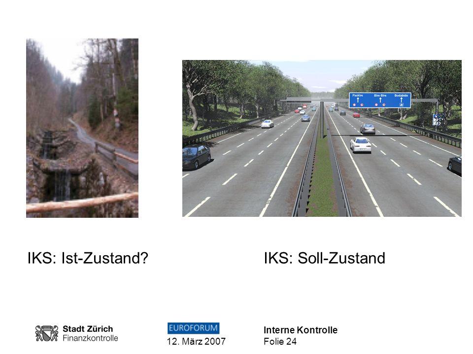 Interne Kontrolle 12. März 2007 Folie 24 IKS: Ist-Zustand? IKS: Soll-Zustand