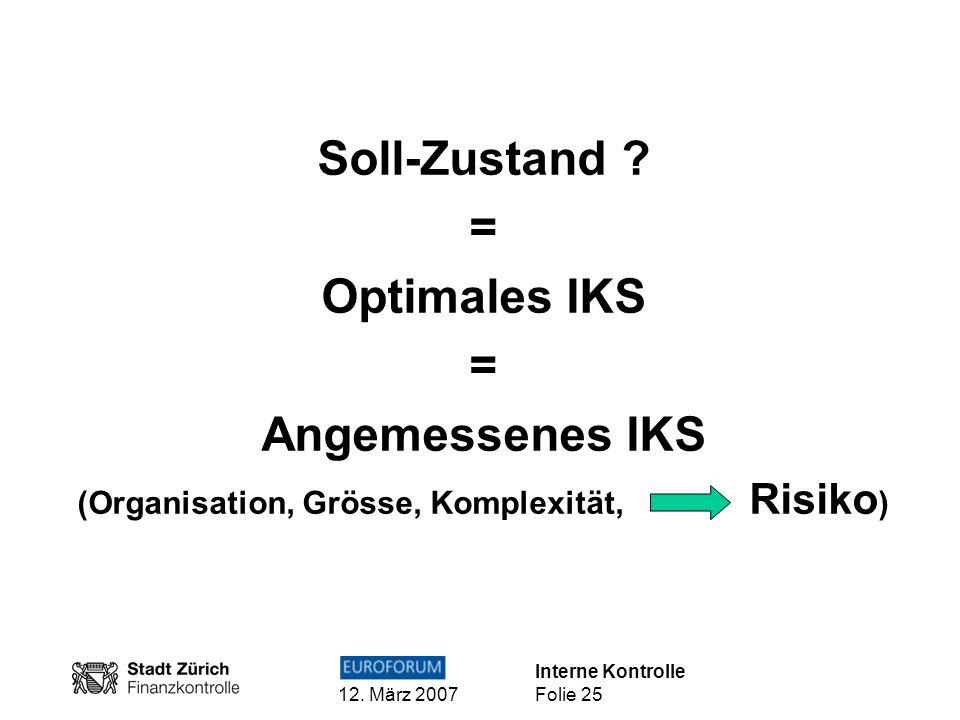 Interne Kontrolle 12. März 2007 Folie 25 Soll-Zustand ? = Optimales IKS = Angemessenes IKS (Organisation, Grösse, Komplexität, Risiko )