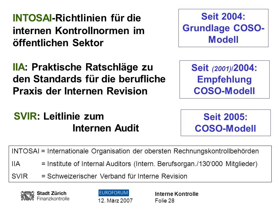 Interne Kontrolle 12. März 2007 Folie 28 INTOSAI = Internationale Organisation der obersten Rechnungskontrollbehörden IIA = Institute of Internal Audi