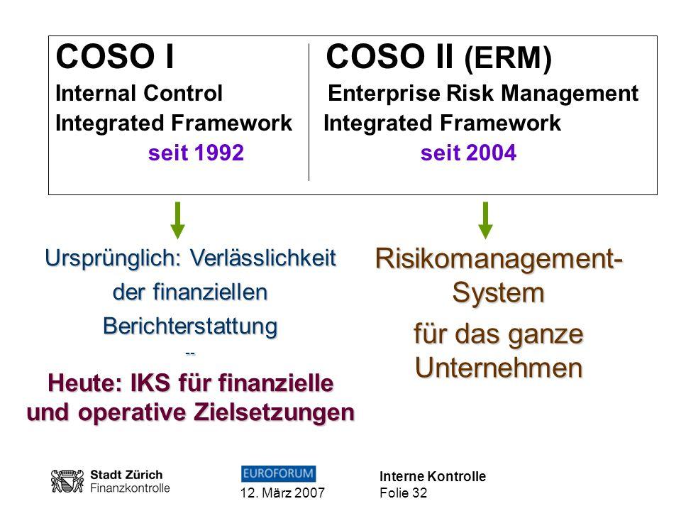 Interne Kontrolle 12. März 2007 Folie 32 COSO I COSO II (ERM) Internal Control Enterprise Risk Management Integrated Framework seit 1992 seit 2004 Urs
