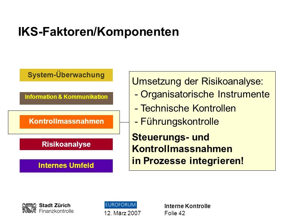 Interne Kontrolle 12. März 2007 Folie 42 IKS-Faktoren/Komponenten Internes Umfeld Risikoanalyse Kontrollmassnahmen Information & Kommunikation System-