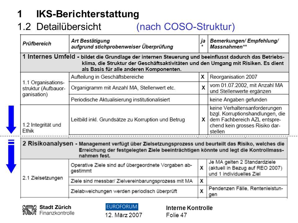 Interne Kontrolle 12. März 2007 Folie 47 1 IKS-Berichterstattung 1.2 Detailübersicht(nach COSO-Struktur)