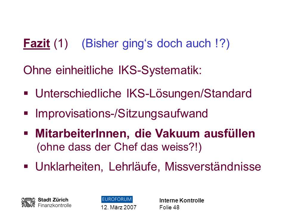 Interne Kontrolle 12. März 2007 Folie 48 Fazit (1) (Bisher gings doch auch !?) Ohne einheitliche IKS-Systematik: Unterschiedliche IKS-Lösungen/Standar
