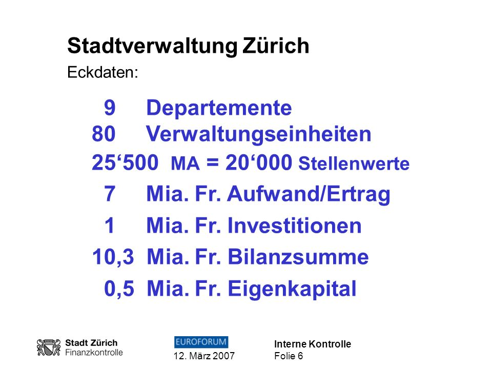 Interne Kontrolle 12. März 2007 Folie 6 Stadtverwaltung Zürich Eckdaten: 9 Departemente 80 Verwaltungseinheiten 25500 MA = 20000 Stellenwerte 7 Mia. F