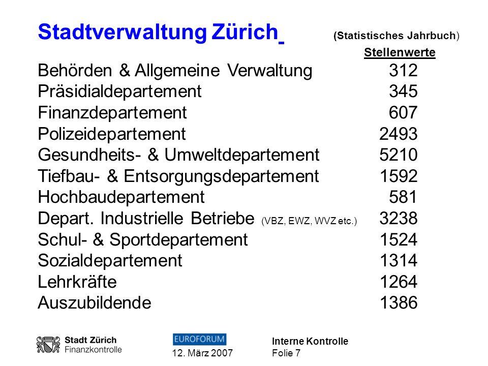 Interne Kontrolle 12. März 2007 Folie 7 Stadtverwaltung Zürich (Statistisches Jahrbuch) Stellenwerte Behörden & Allgemeine Verwaltung 312 Präsidialdep