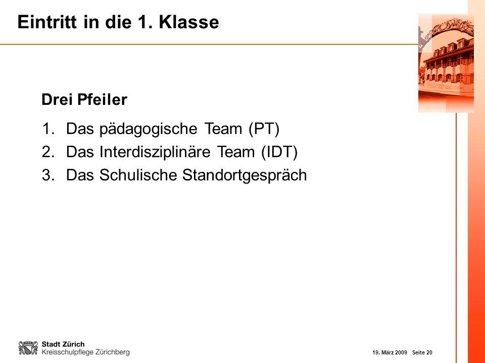 19. März 2009 Seite 20 Eintritt in die 1. Klasse Drei Pfeiler 1.Das pädagogische Team (PT) 2.Das Interdisziplinäre Team (IDT) 3.Das Schulische Standor