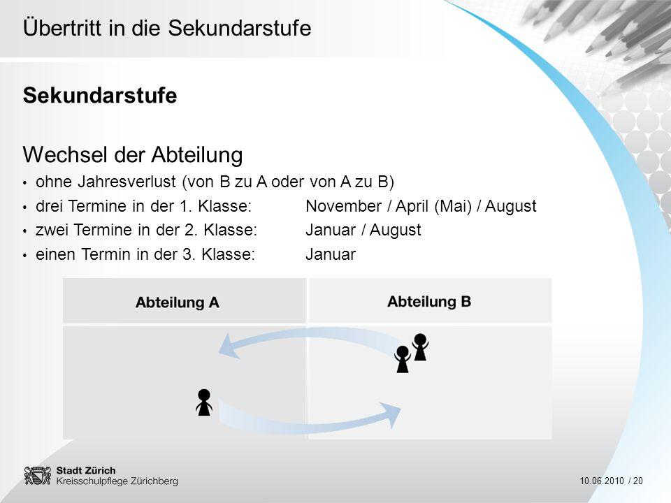 Übertritt in die Sekundarstufe 10.06.2010 / 20 Sekundarstufe Wechsel der Abteilung ohne Jahresverlust (von B zu A oder von A zu B) drei Termine in der