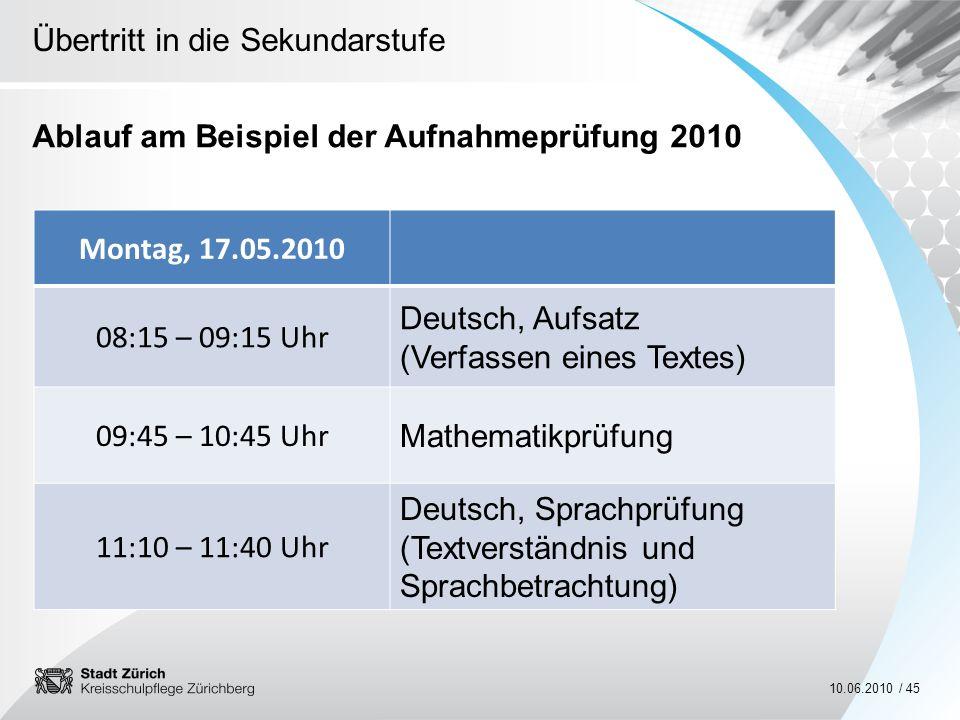 Übertritt in die Sekundarstufe 10.06.2010 / 45 Ablauf am Beispiel der Aufnahmeprüfung 2010 Montag, 17.05.2010 08:15 – 09:15 Uhr Deutsch, Aufsatz (Verf