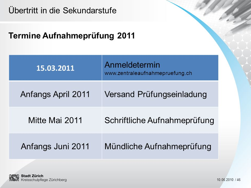 Übertritt in die Sekundarstufe 10.06.2010 / 46 Termine Aufnahmeprüfung 2011 15.03.2011 Anmeldetermin www.zentraleaufnahmepruefung.ch Anfangs April 201