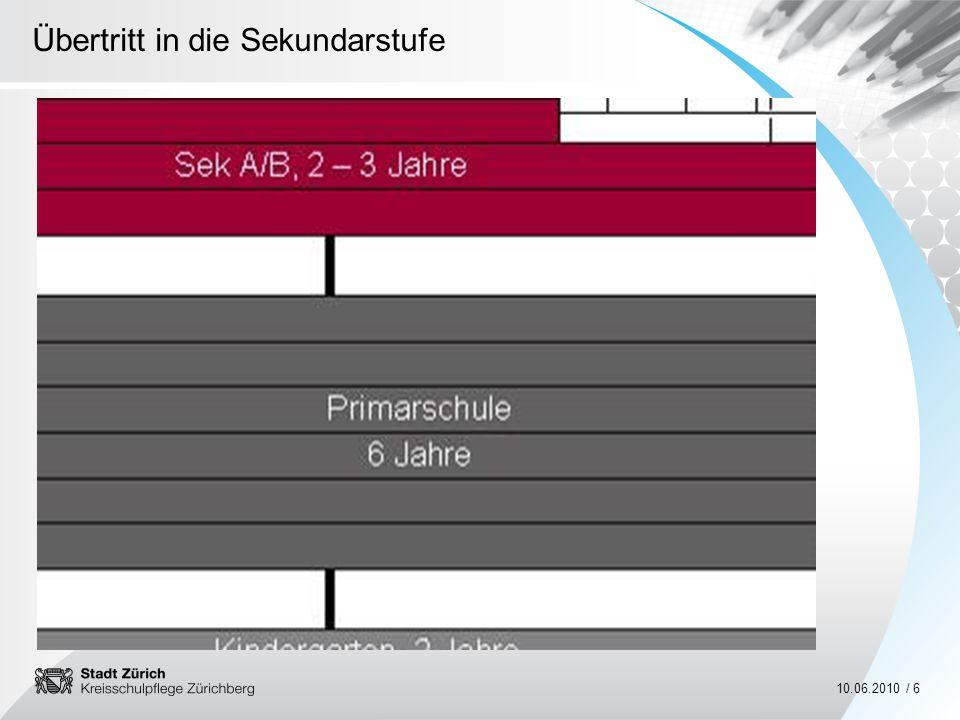 Übertritt in die Sekundarstufe 10.06.2010 / 27 Sekundarstufe Angebote und Dienstleistungen der Sekundarschule im Schulkreis Zürichberg Die Klassenlehrperson ist für Sie und Ihr Kind die erste Ansprechperson.