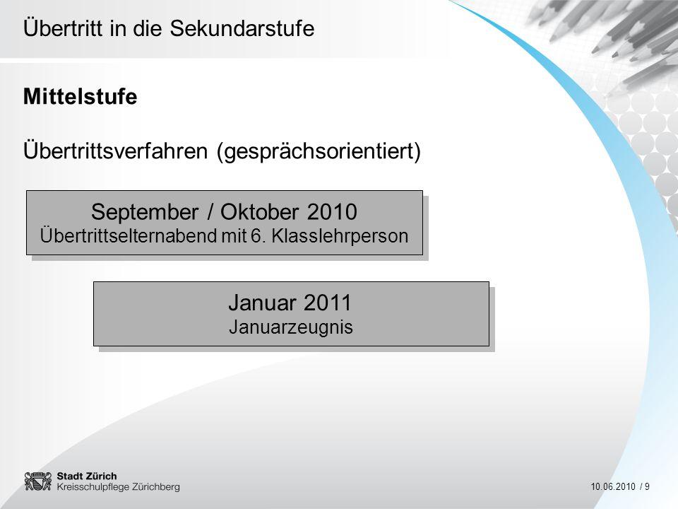 Übertritt in die Sekundarstufe 10.06.2010 / 9 Mittelstufe Übertrittsverfahren (gesprächsorientiert) September / Oktober 2010 Übertrittselternabend mit