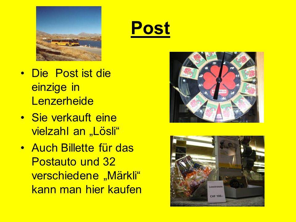 Post Die Post ist die einzige in Lenzerheide Sie verkauft eine vielzahl an Lösli Auch Billette für das Postauto und 32 verschiedene Märkli kann man hier kaufen