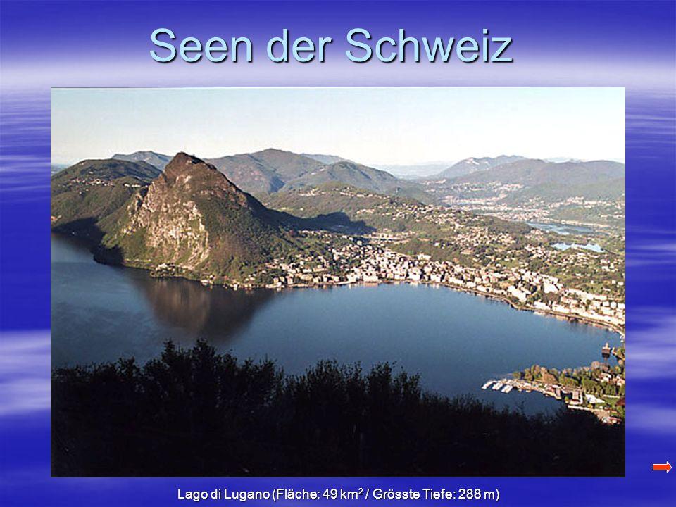 Seen der Schweiz Lago di Lugano (Fläche: 49 km 2 / Grösste Tiefe: 288 m)