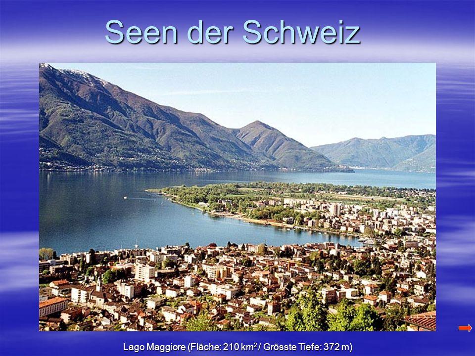 Seen der Schweiz Lago Maggiore (Fläche: 210 km 2 / Grösste Tiefe: 372 m)