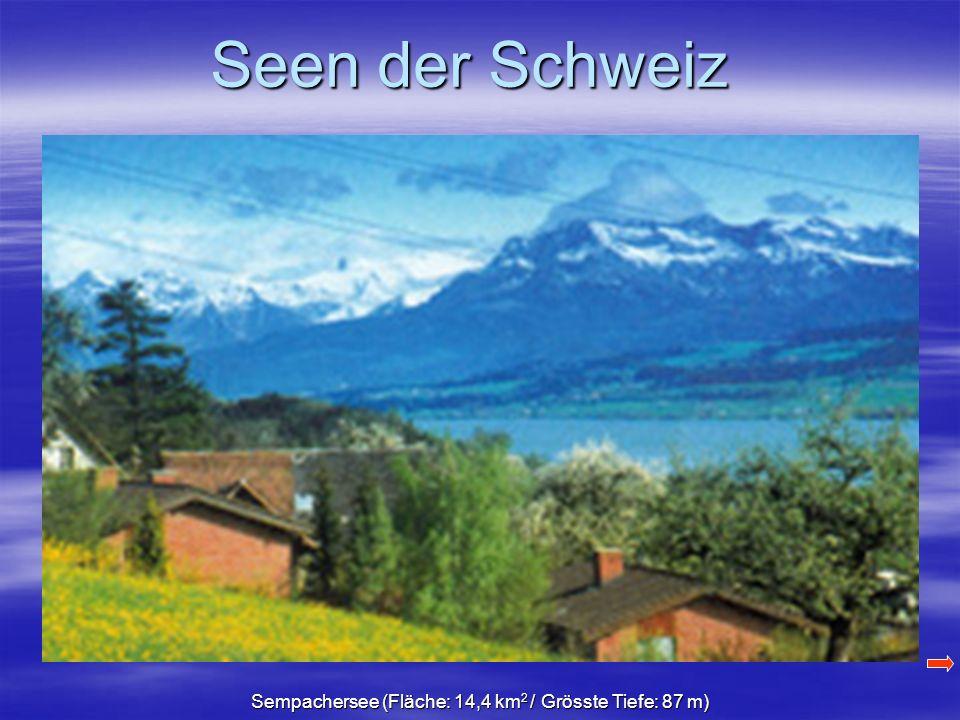 Sempachersee (Fläche: 14,4 km 2 / Grösste Tiefe: 87 m)