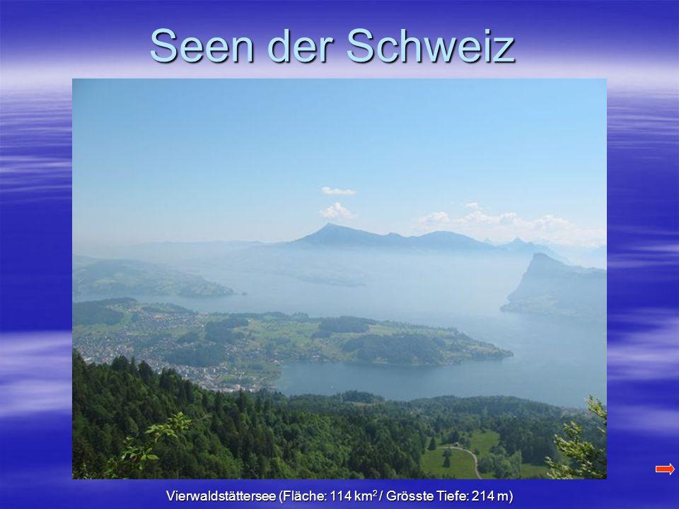 Seen der Schweiz Vierwaldstättersee (Fläche: 114 km 2 / Grösste Tiefe: 214 m)