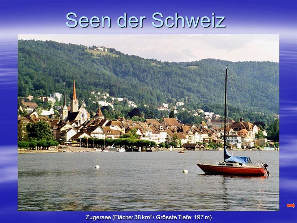 Seen der Schweiz Zugersee (Fläche: 38 km 2 / Grösste Tiefe: 197 m)