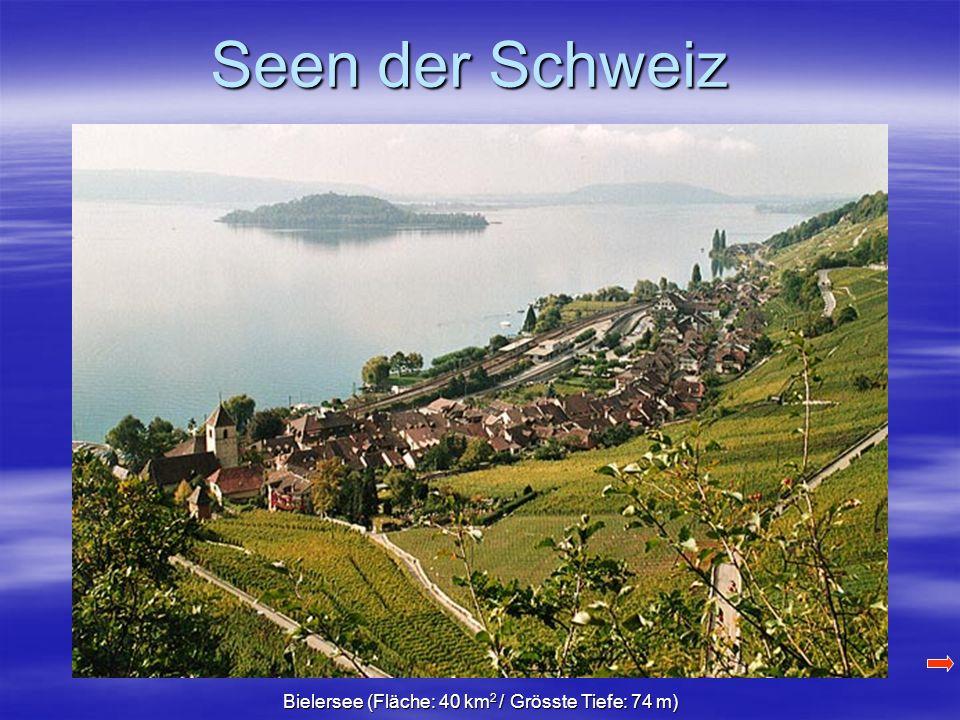 Bielersee (Fläche: 40 km 2 / Grösste Tiefe: 74 m)