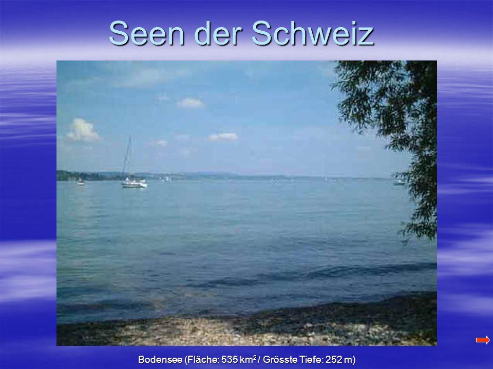 Seen der Schweiz Bodensee (Fläche: 535 km 2 / Grösste Tiefe: 252 m)