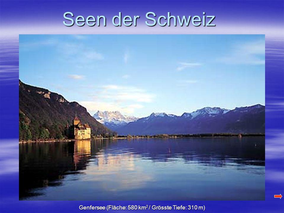 Seen der Schweiz Genfersee (Fläche: 580 km 2 / Grösste Tiefe: 310 m)