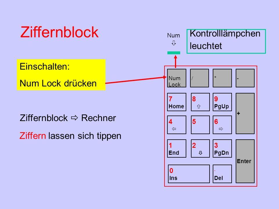 Num Ziffernblock Einschalten: Num Lock drücken Kontrolllämpchen leuchtet Ziffern lassen sich tippen Ziffernblock Rechner Num Lock / *- 7 Home 8 9 PgUp
