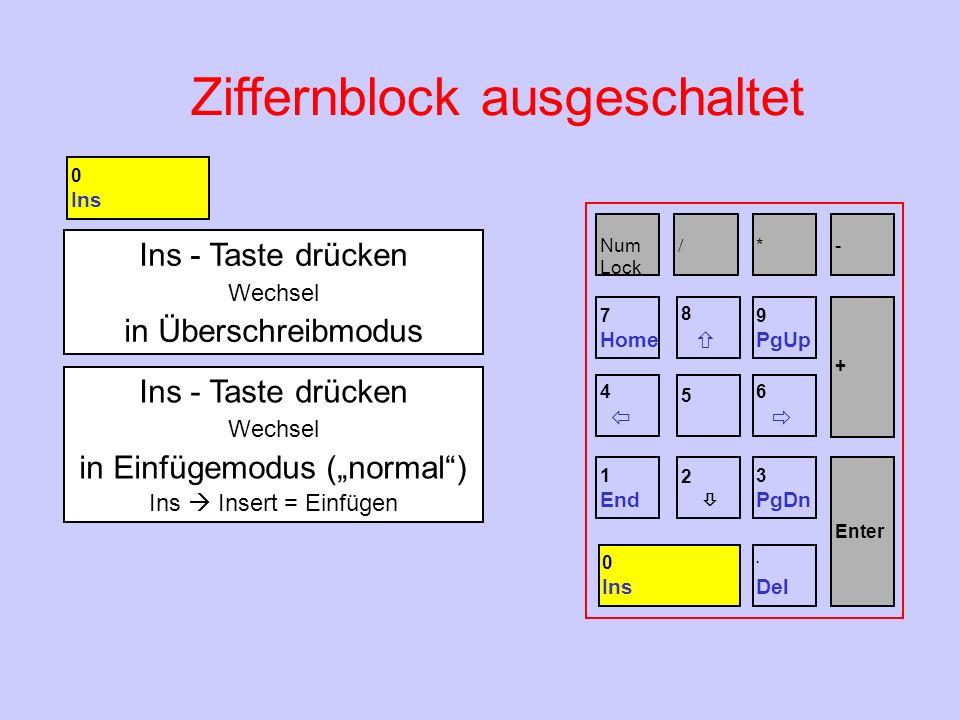 Ziffernblock ausgeschaltet Ins - Taste drücken Wechsel in Überschreibmodus Ins - Taste drücken Wechsel in Einfügemodus (normal) Ins Insert = Einfügen