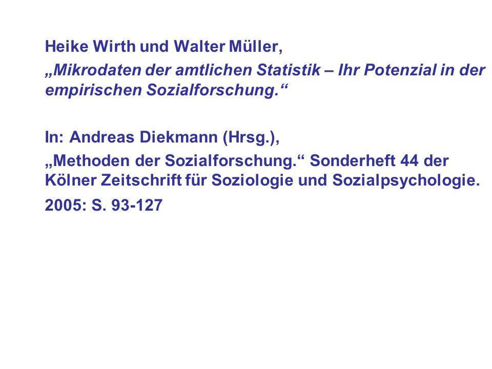 Heike Wirth und Walter Müller, Mikrodaten der amtlichen Statistik – Ihr Potenzial in der empirischen Sozialforschung.