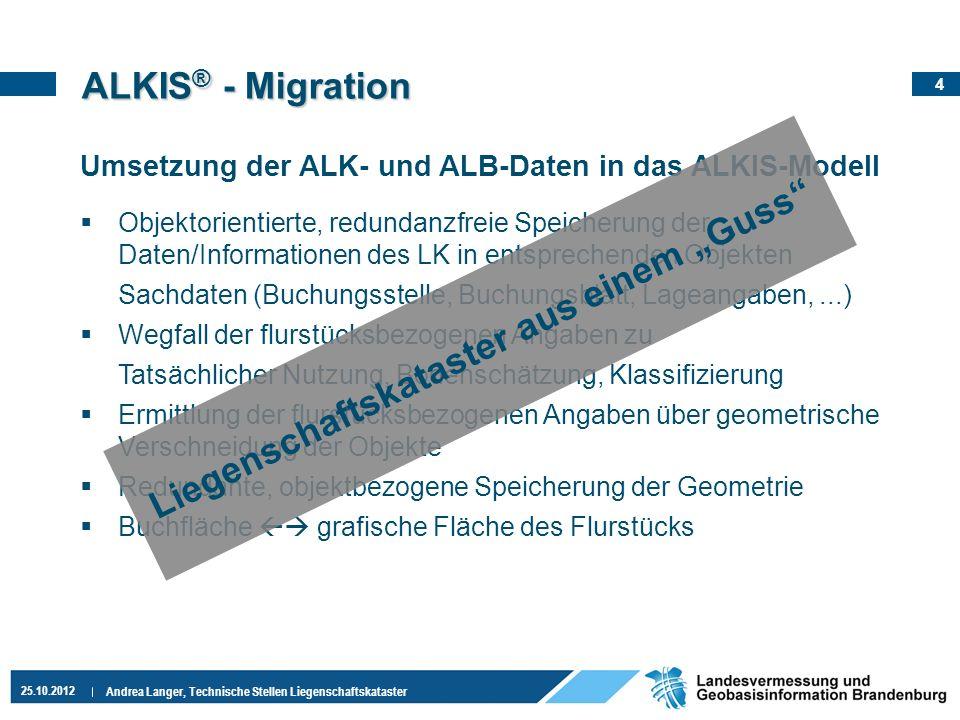 4 25.10.2012 Andrea Langer, Technische Stellen Liegenschaftskataster ALKIS ® - Migration Umsetzung der ALK- und ALB-Daten in das ALKIS-Modell Objektor
